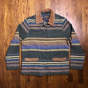 Vtg Made in USA Woolrich Striped Wool Jacket